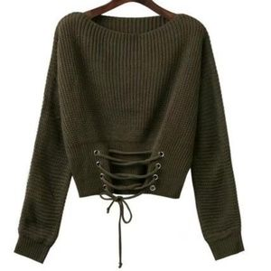 Tops - Lace up waist sweater